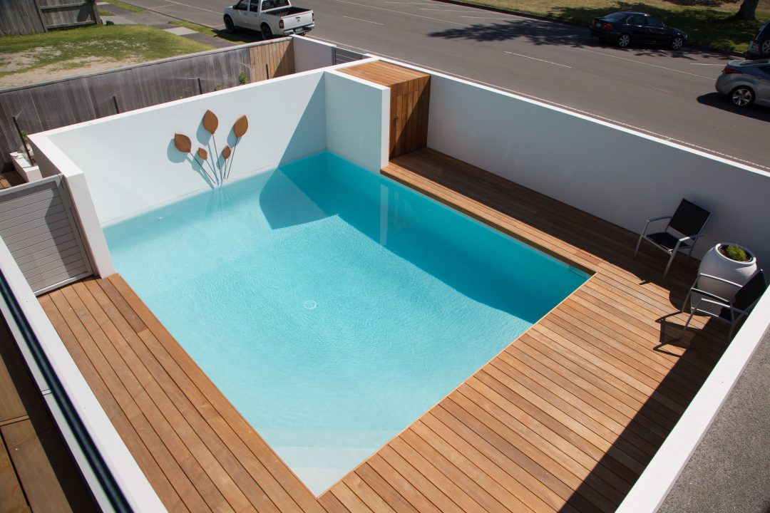 Timber deck and pool, exterior