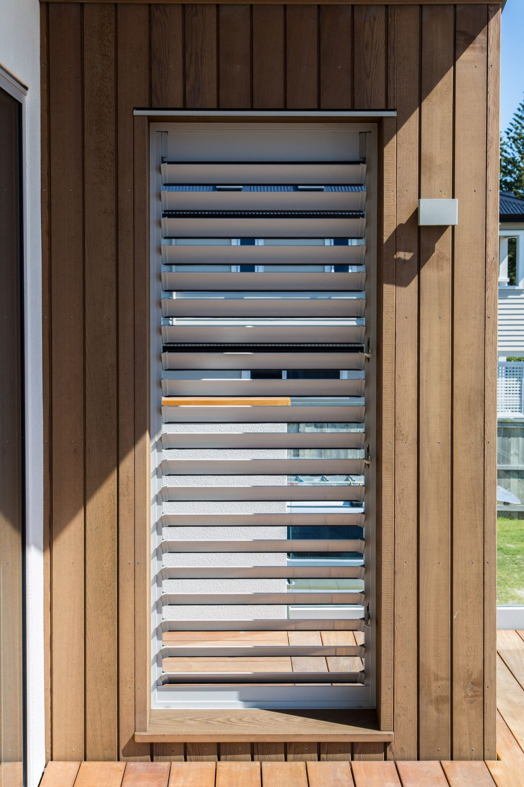 Timber detail around louvres